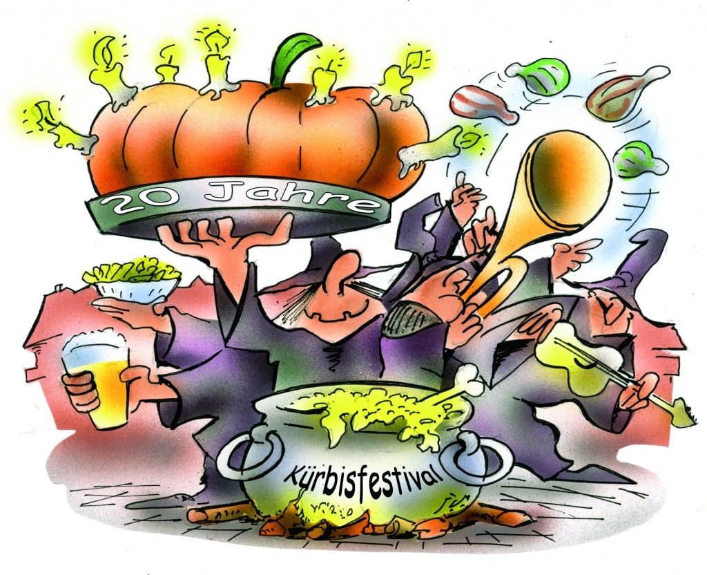 Zum Geburtstag wird es richtig bunt, beim Tanz um den Hexenkessel geht es rund!   Karikatur: H. Schwarze-Blanke