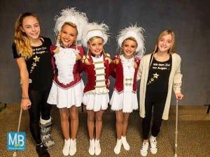 Junioren-Tanzmariechen (v.l.): Linn Sophie Endema, Alicia Rotermann, Finja Raußen, Juli Marie Greßler, Luana Kristin Greßler | Foto: TK Rote Husaren