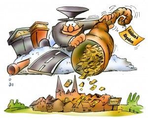 Fallen die Gebühren geringer aus, kommt ein kleiner Geldsegen in jedes Haus! | Karikatur: H. Schwarze-Blanke
