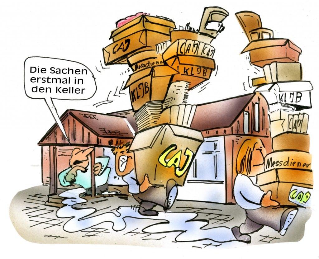Hoffentlich tragen die es mit Humor, der Umzug steht bevor! | Karikatur: H. Schwarze-Blanke