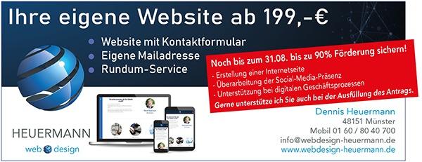 Anzeige für eine eigene Website, jetzt mit bis zu 90% Förderung